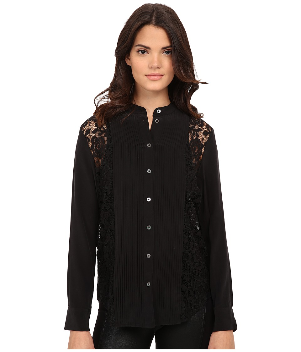 EQUIPMENT - Collarless Slim Signature Clean (True Black) Women's Long Sleeve Button Up