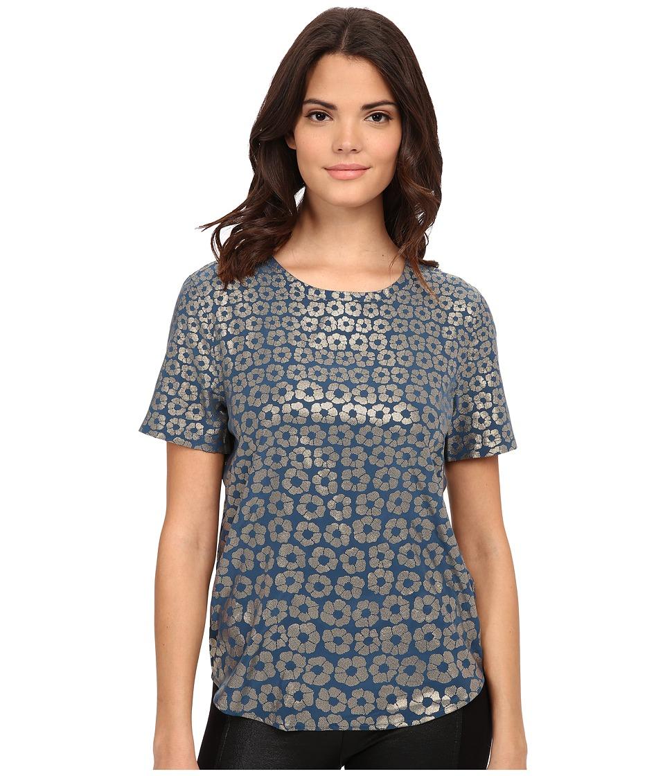 EQUIPMENT - Riley Tee (Majolica Blue/Gold) Women's T Shirt
