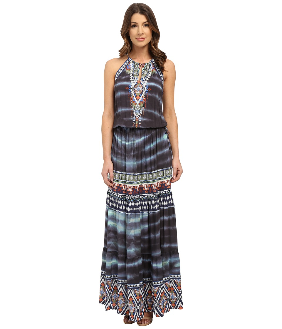 Hale Bob - Wearable Art Drop Waist Maxi Dress (Blue) Women's Dress