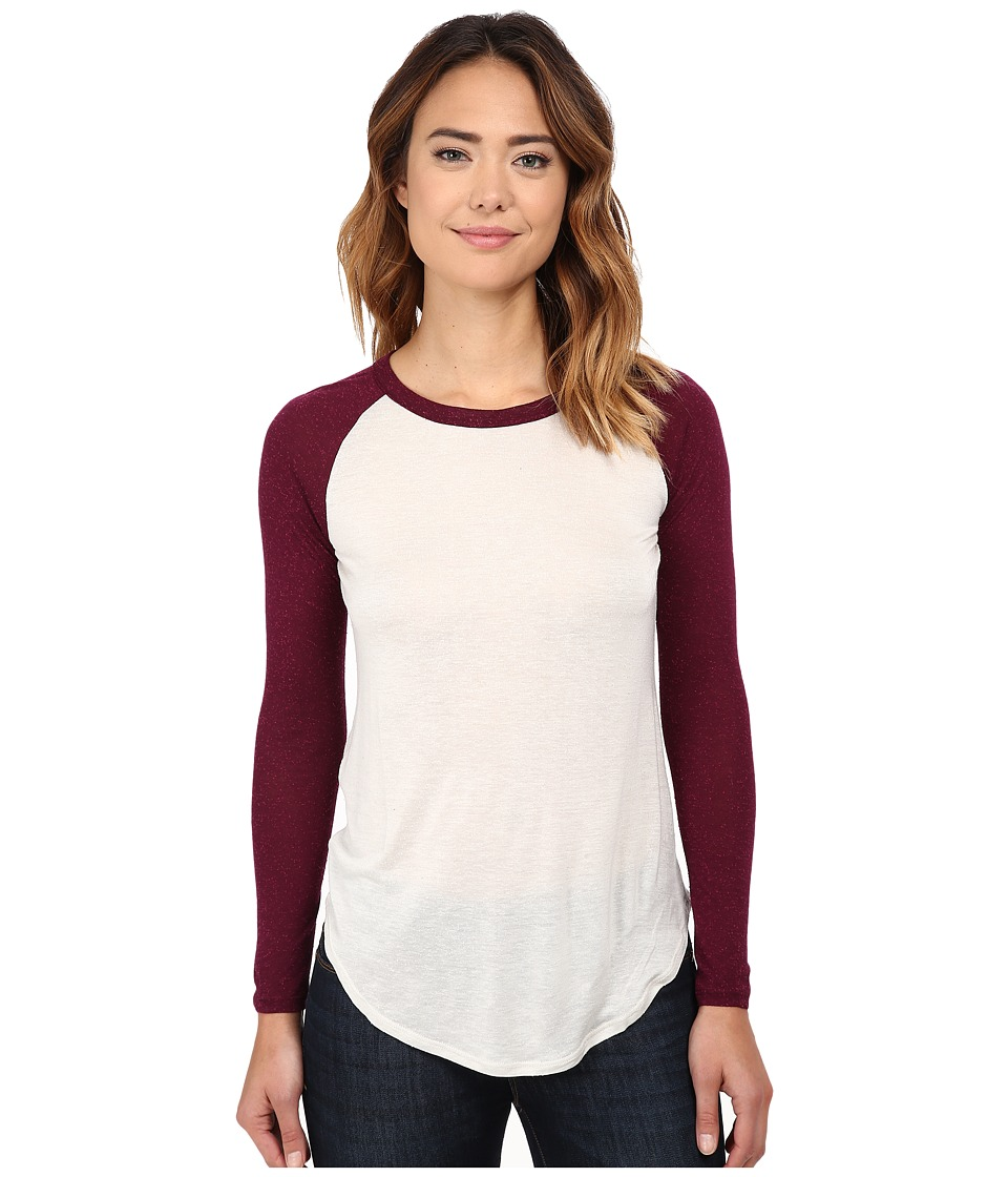Chaser - Contrast Baseball Tee (Oyster Cabernet) Women