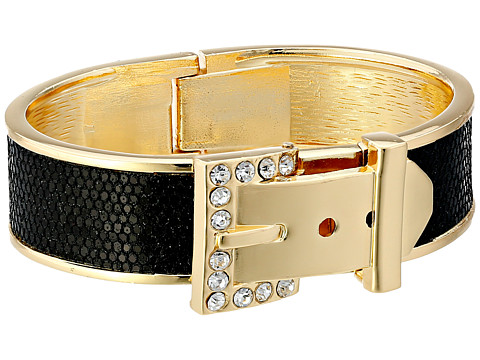 GUESS - Buckle Hinge Cuff Bracelet (Gold/Jet/Crystal) Bracelet