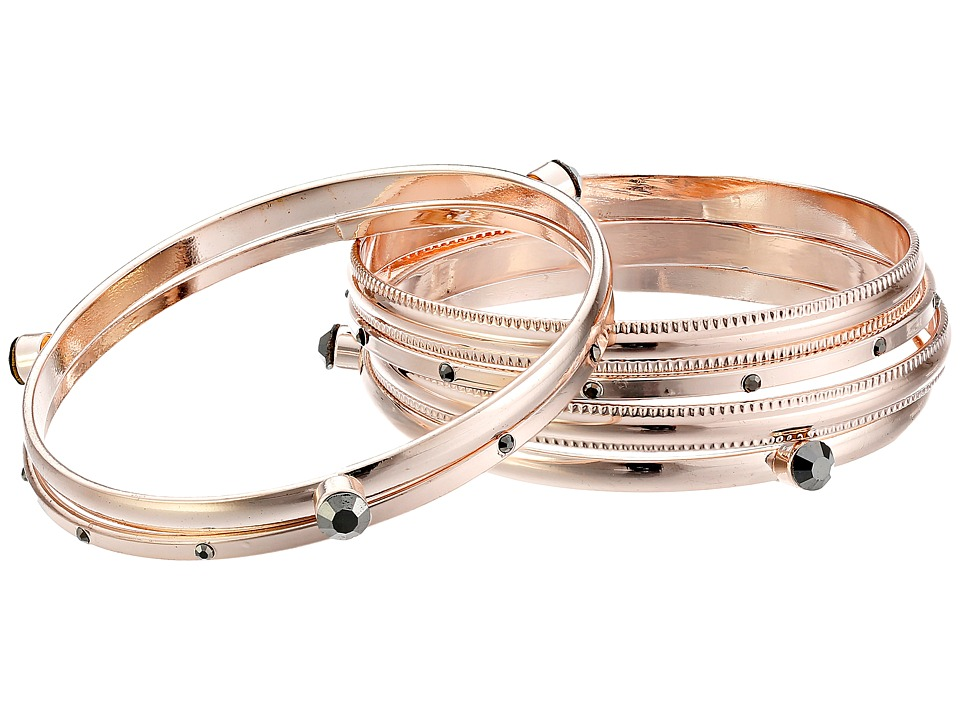 GUESS - Six Piece Bangle Set with Stones (Rose Gold/Hematite) Bracelet