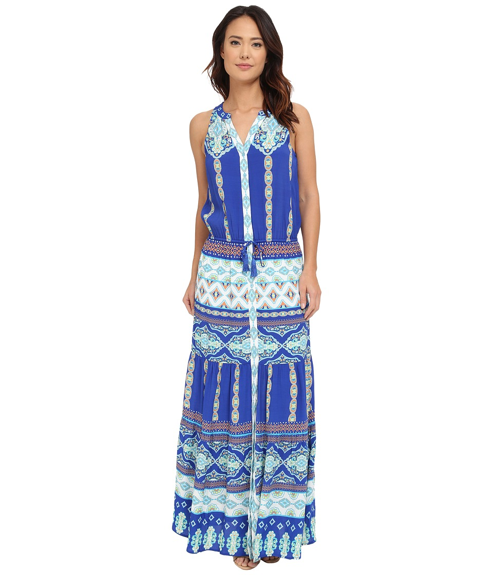 Hale Bob - Mojitos After Dark Drop Waist Maxi (Blue) Women's Dress