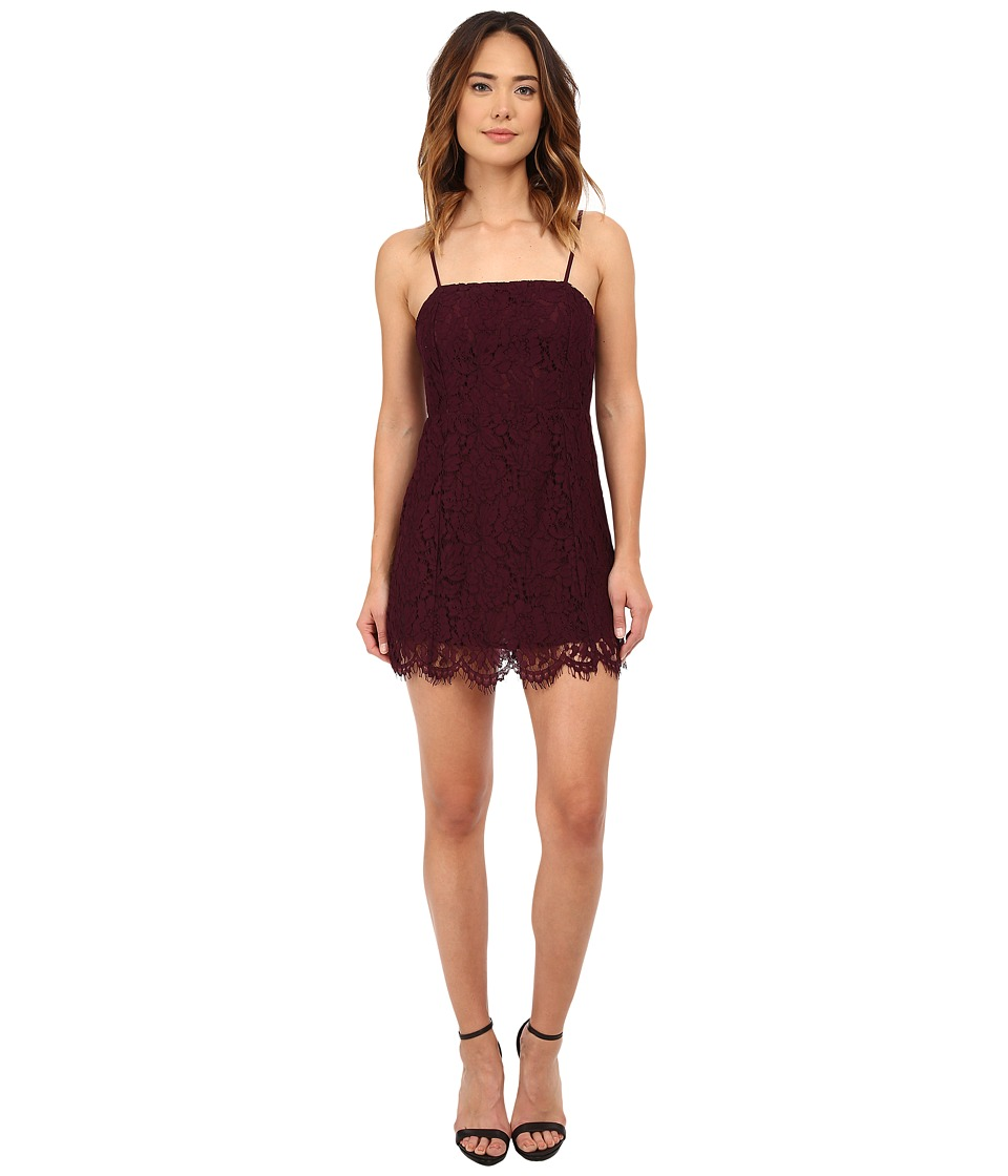 Chaser Vintage Lace Party Mini Dress (Cabernet) Women