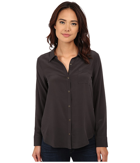 Chaser - Open Back Button Down Silk Shirt (Vintage Black) Women