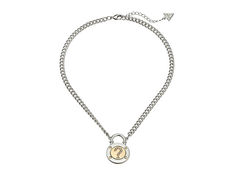 GUESS - Logo Padlock Necklace (Silver/Gold/Crystal) Necklace