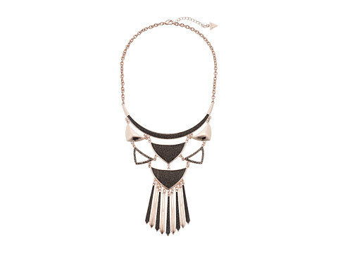 GUESS - Curved ID Collar Necklace (Rose Gold/Hematite) Necklace
