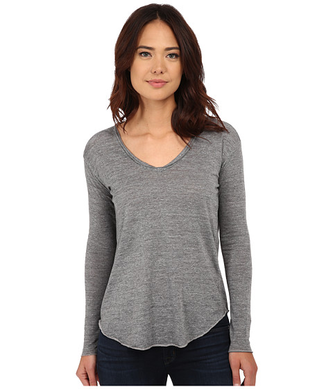 Chaser - Tri-Blend High-Low Open Back Tee (Streaky Grey) Women