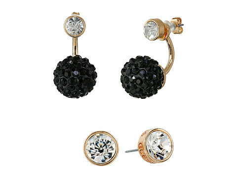 GUESS - Stone Stud and Bead Trio Earrings Set (Gold/Jet/Crystal) Earring