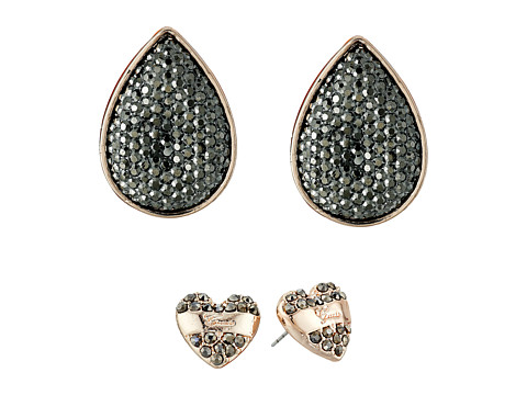 GUESS - Heart and Teardrop Duo Stud Set Earrings (Rose Gold/Hematite) Earring