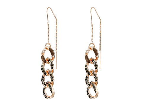 GUESS - Link Chain Threader Linear Earrings (Rose Gold/Hematite) Earring