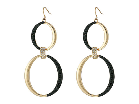 GUESS - Double Rings on Wire Earrings (Gold/Jet) Earring