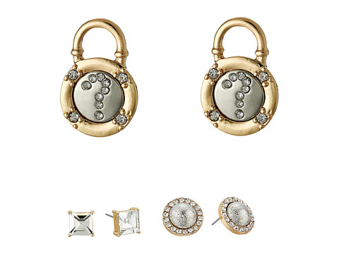 GUESS - Stone, Pearl, Lock Trio Stud Set Earrings (Silver/Crystal/Pearl) Earring