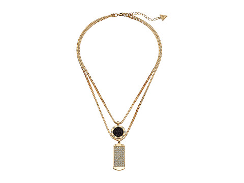 GUESS - Duo Pendant Necklace (Gold/Jet/Crystal) Necklace