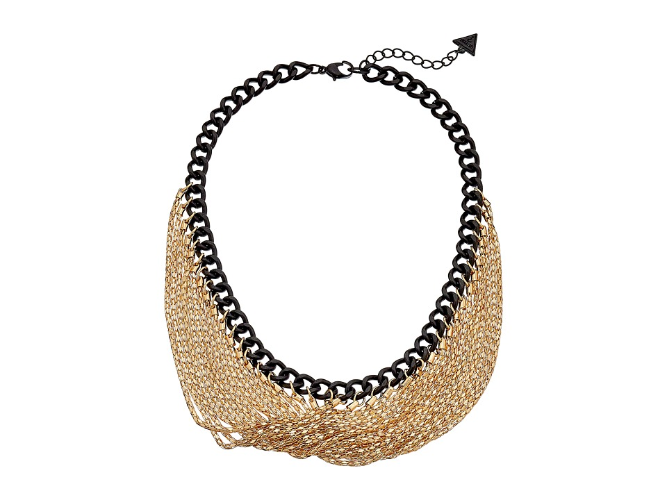 GUESS - Chain Swag Necklace (Gold/Jet/Crystal) Necklace