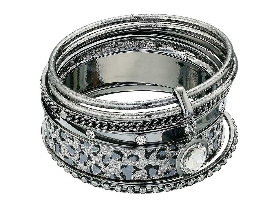 GUESS - Leopard Six Piece Bangle Set (Hematite/Crystal) Bracelet