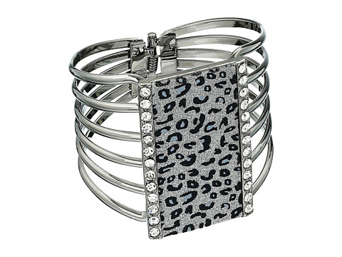 GUESS - Leopard Hinge Cuff Bracelet (Hematite/Crystal) Bracelet