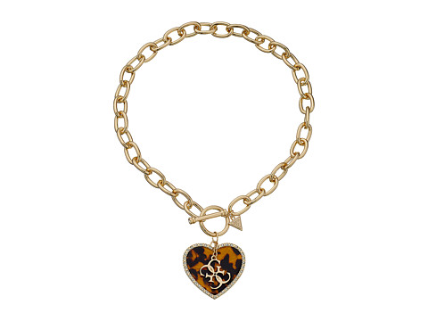 GUESS - Heart Toggle Chain Necklace (Gold/Tortoise/Crystal) Necklace