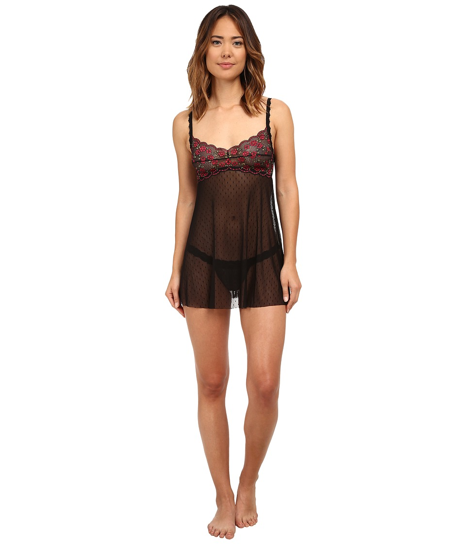 Hanky Panky - Rose Garden Babydoll (Black/Red/Green) Women's Pajama