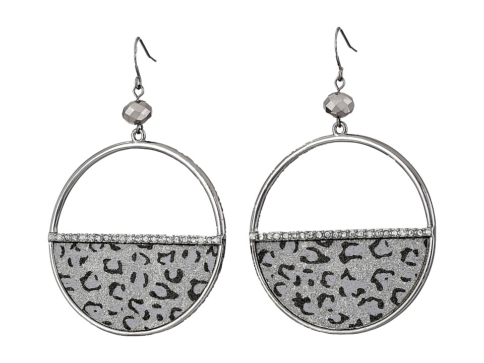 GUESS - Half Disc Hoop Earrings (Hematite/Crystal) Earring