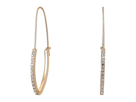 GUESS - Half Stone Hoop on Wire Earrings (Gold/Crystal) Earring