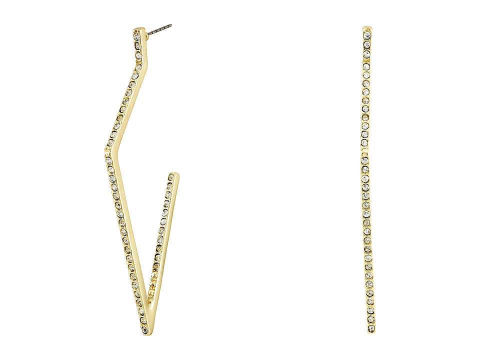 GUESS - Diamond Shape Stone Hoop Earrings (Gold/Crystal) Earring