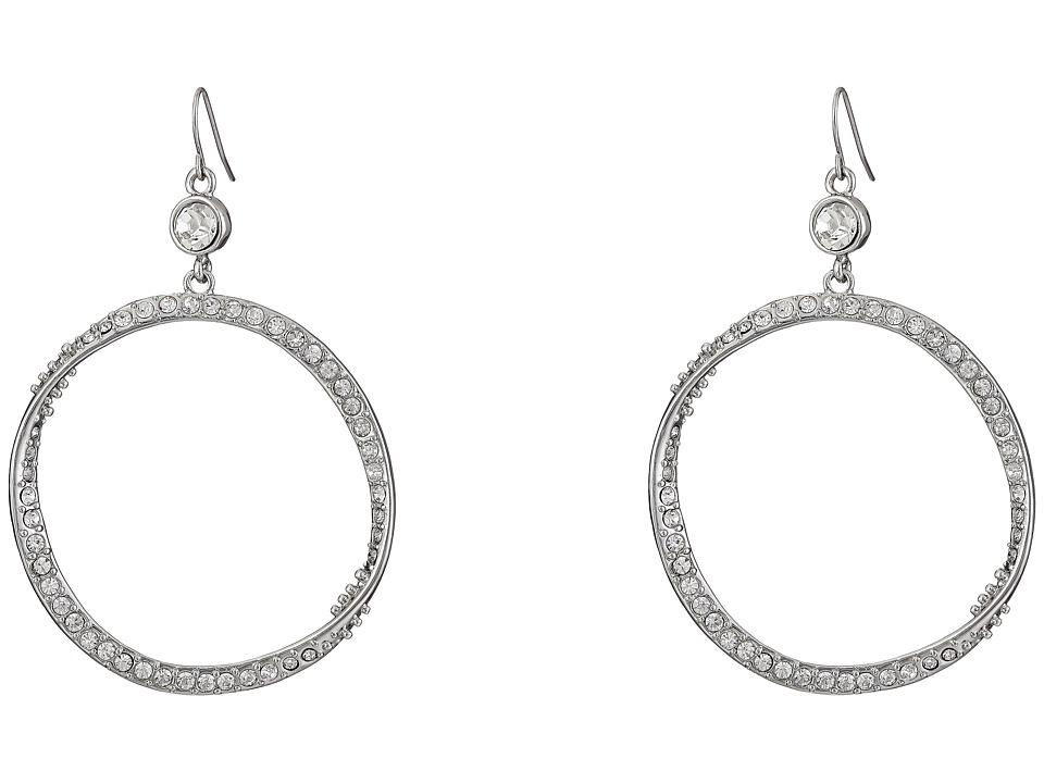 GUESS - Stone Hoop on Wire Earrings (Silver/Crystal) Earring