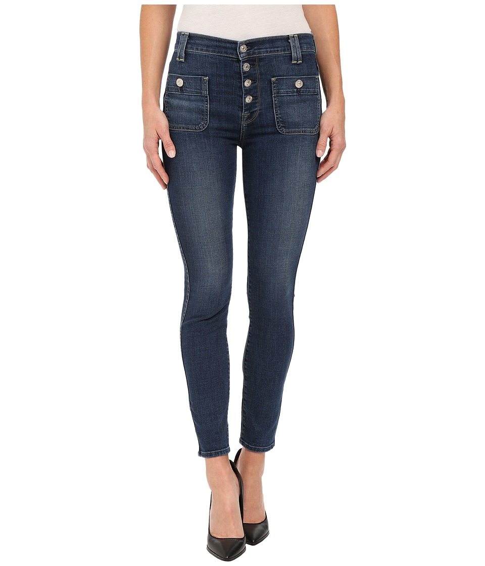 7 For All Mankind - Exposed Button Skinny in La Palma Blue 2 (La Palma Blue 2) Women's Jeans