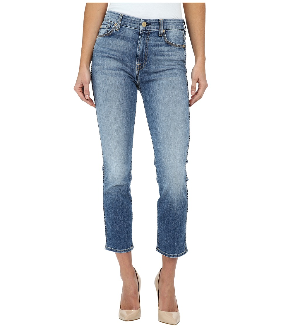 7 For All Mankind - Cropped High Waist Vintage Straight in Ibiza Island Indigo (Ibiza Island Indigo) Women