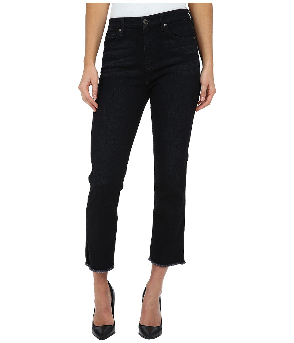 7 For All Mankind - Cropped High Waist Vintage Straight w/ Raw Hem in Slim Illusion Rich Noir (Slim Illusion Rich Noir) Women