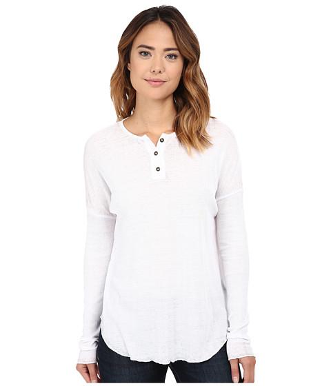 Chaser - Vintage Rib Oversized Henley Tee (White) Women's T Shirt