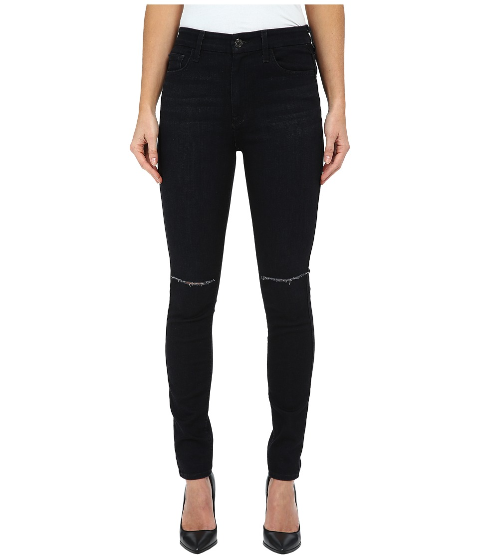 7 For All Mankind - The High Waist Skinny w/ Knee Slashes in Slim Illusion Rich Noir 2 (Slim Illusion Rich Noir 2) Women