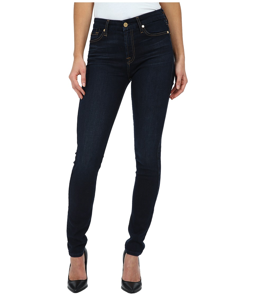 7 For All Mankind - The Mid Rise Skinny w/ Tonal Squiggle in Slim Illusion Dark Madrid Night (Slim Illusion Dark Madrid Night) Women's Jeans