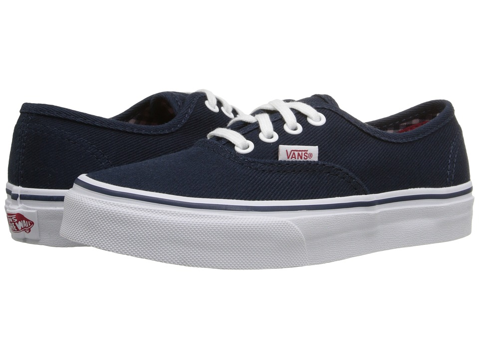 Vans Kids - Authentic (Little Kid/Big Kid) ((Twill & Gingham) Dress Blues/True White) Boys Shoes