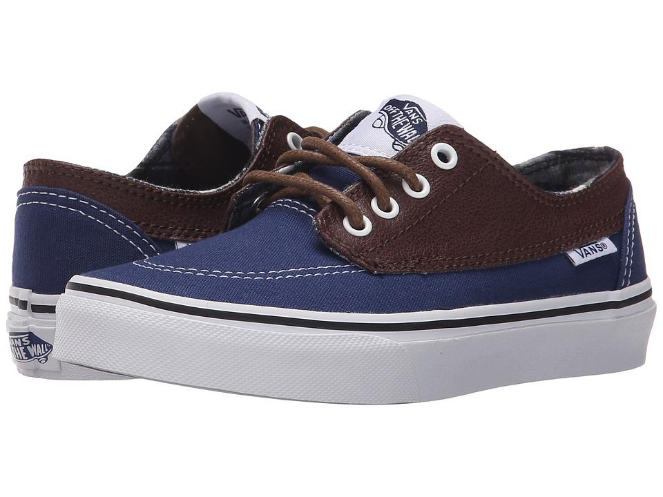 Vans Kids - Brigata (Little Kid/Big Kid) ((Leather/Plaid) Estate Blue/Potting Soil) Boys Shoes