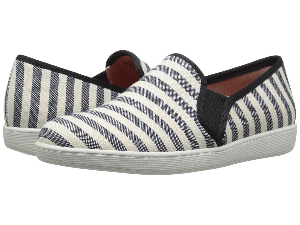 Trotters - Americana (Black/Cream Striped Canvas) Women's Slip on Shoes