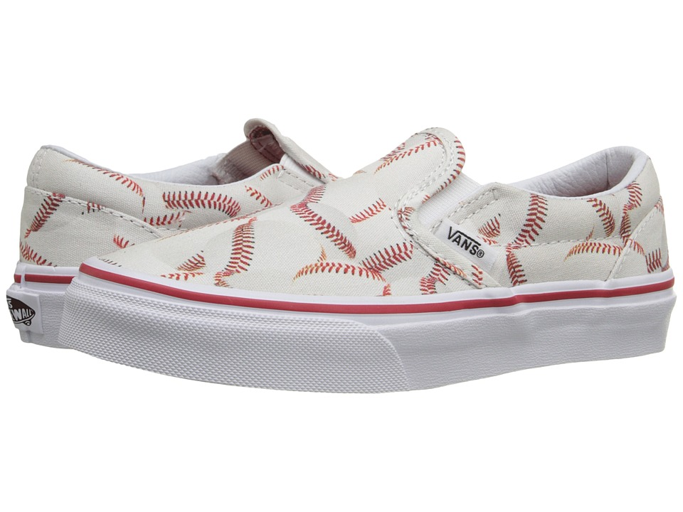 Vans Kids Classic Slip-On (Little Kid/Big Kid) ((Sports) Baseball/Red) Boys Shoes