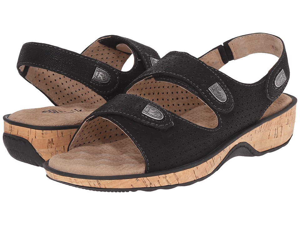 SoftWalk - Bolivia (Black Tumbled Buff Leather) Women's Sandals
