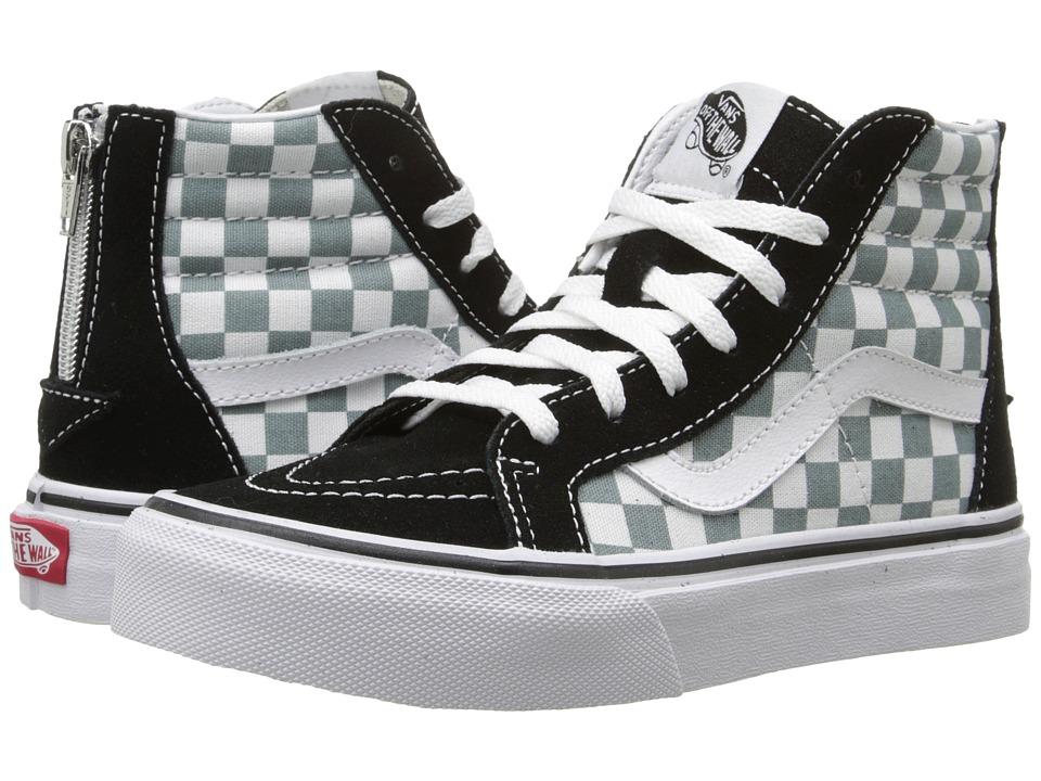 Vans Kids - Sk8-Hi Zip (Little Kid/Big Kid) ((Checkerboard) Black/Citadel) Boys Shoes