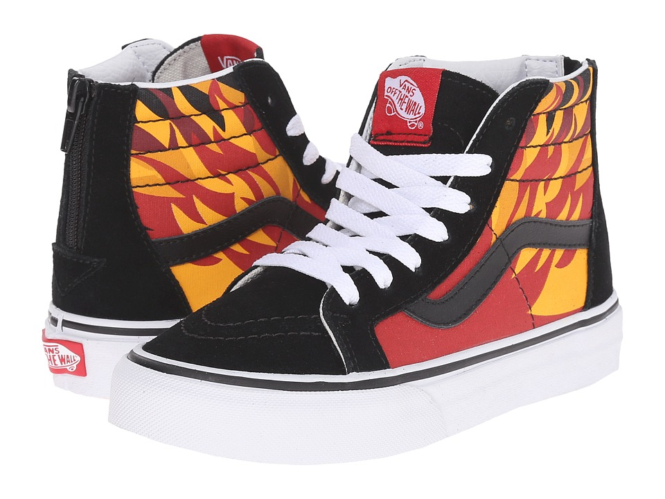 Vans Kids - Sk8-Hi Zip (Little Kid/Big Kid) ((Flame) Black/Racing Red) Boys Shoes