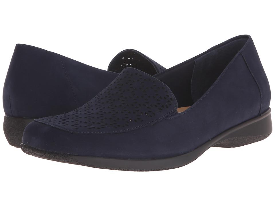Trotters - Jenn (Navy Nubuck Leather Laser Cut) Women's Slip on Shoes