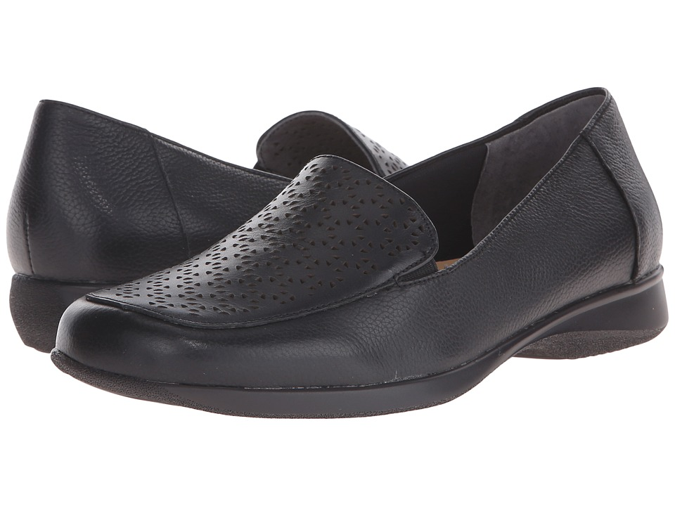 Trotters Jenn (Black Soft Tumbled Leather Laser Cut) Women