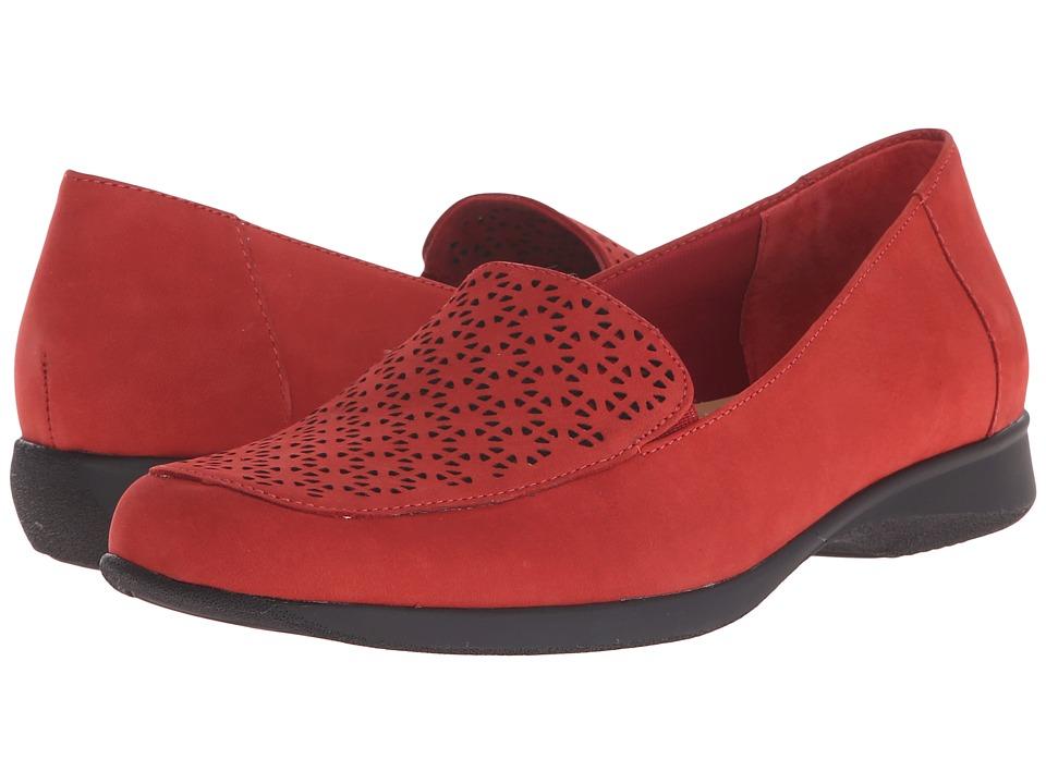 Trotters - Jenn (Red Nubuck Leather Laser Cut) Women's Slip on Shoes