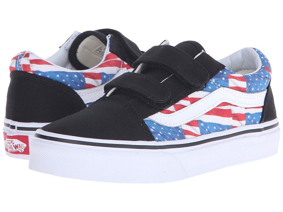 Vans Kids - Old Skool V (Little Kid/Big Kid) ((Free Flag) Black/True White) Kids Shoes