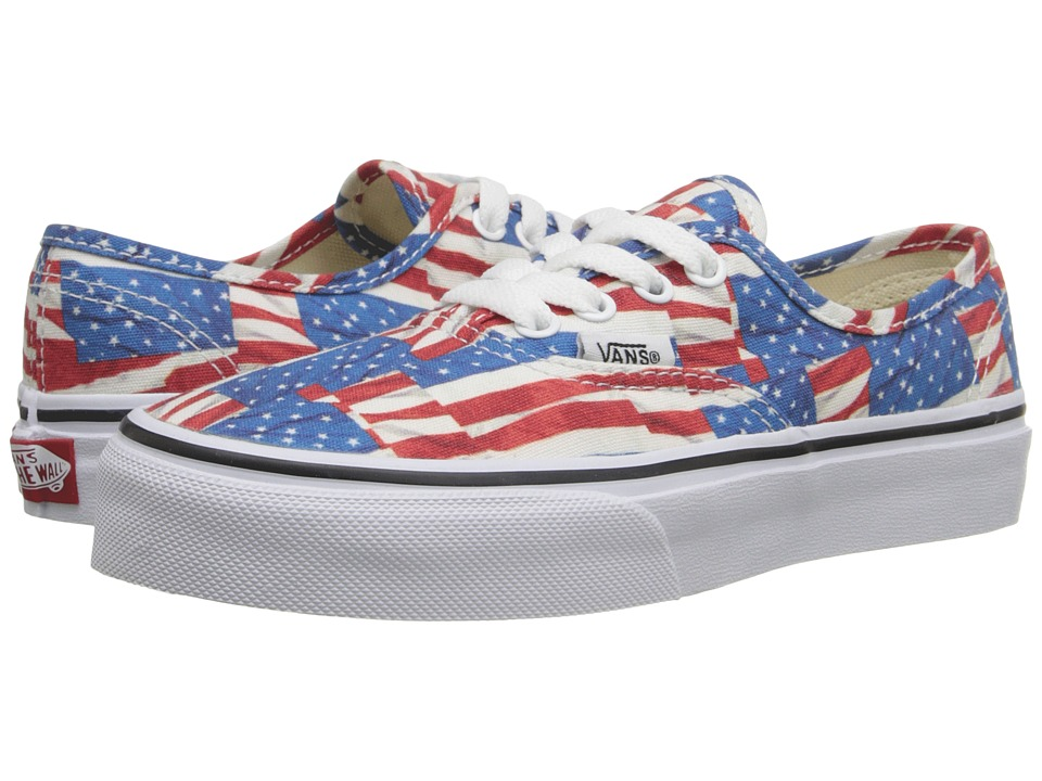 Vans Kids - Authentic (Little Kid/Big Kid) ((Free Flag) Red/True White) Kids Shoes