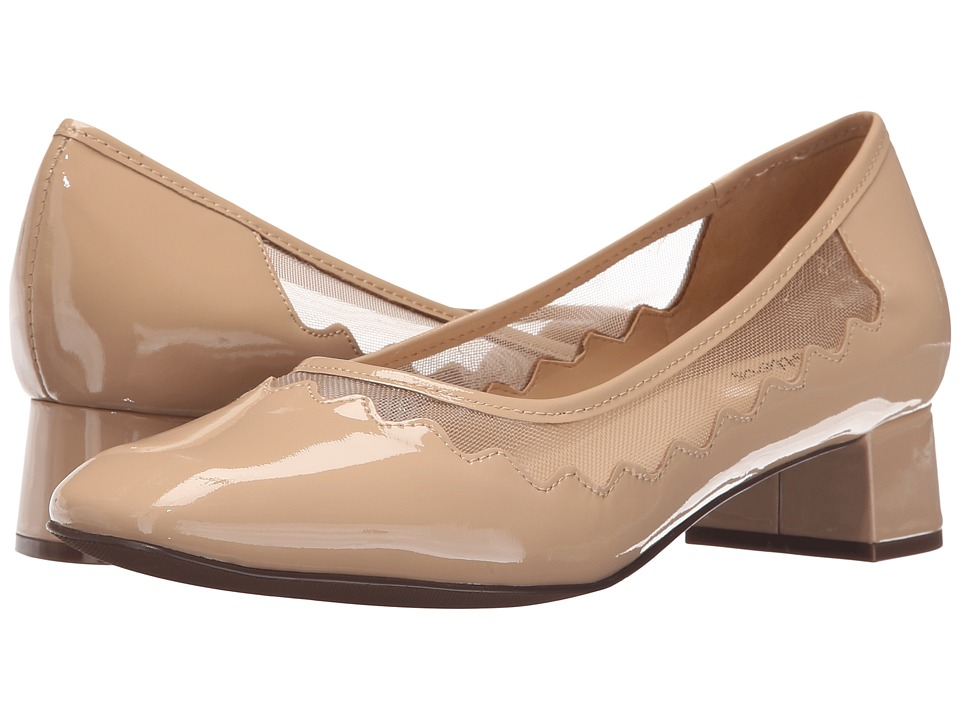 Trotters - Lark (Nude Soft Patent Leather/Mesh Fabric) Women's 1-2 inch heel Shoes