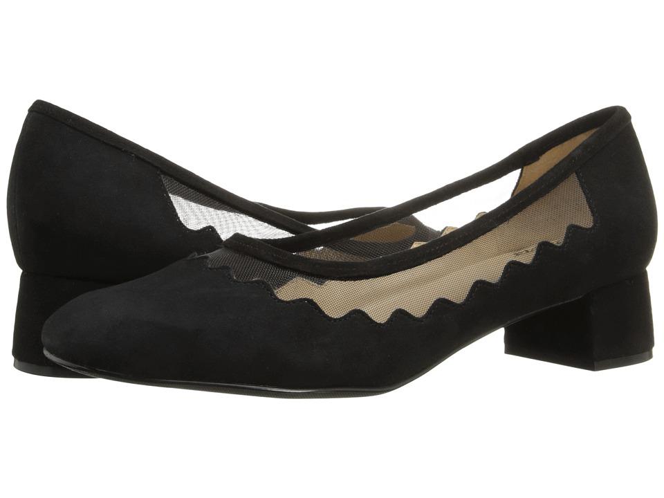 Trotters - Lark (Black Kid Suede Leather/Mesh Fabric) Women's 1-2 inch heel Shoes