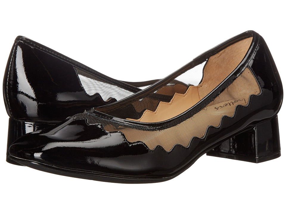 Trotters Lark (Black Soft Patent Leather/Mesh Fabric) Women