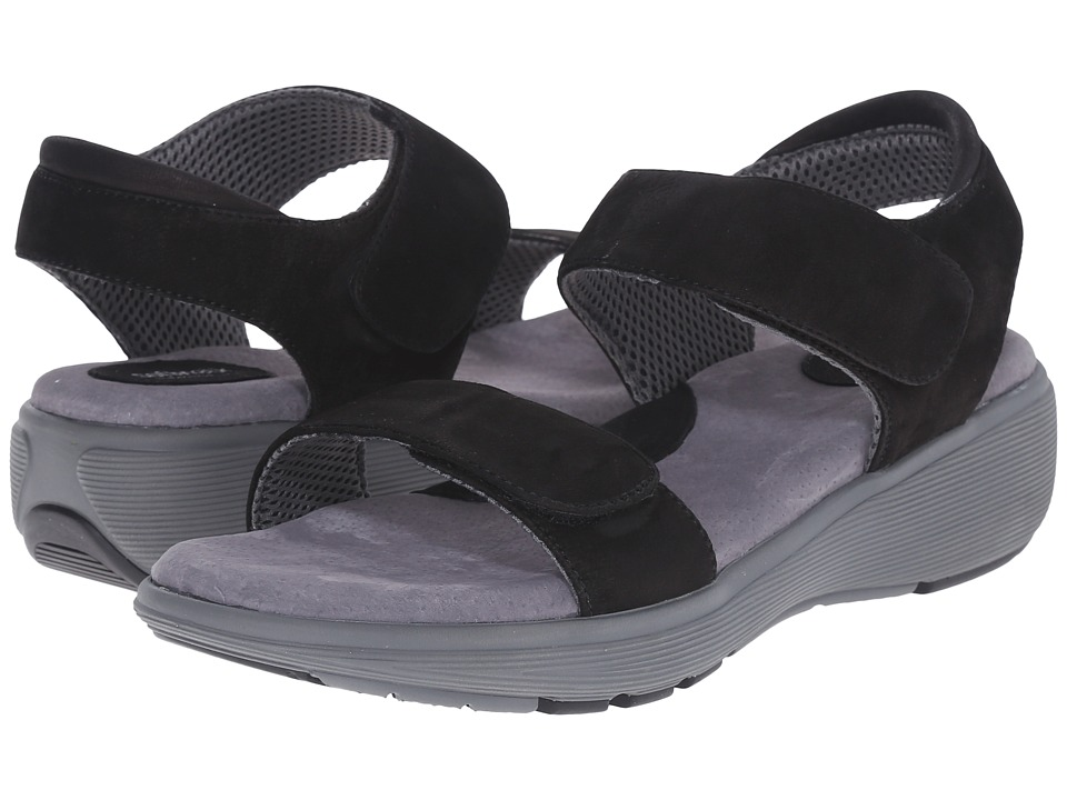 SoftWalk - Elevate 2.0 (Black Tumbled Buff Leather) Women's Sandals