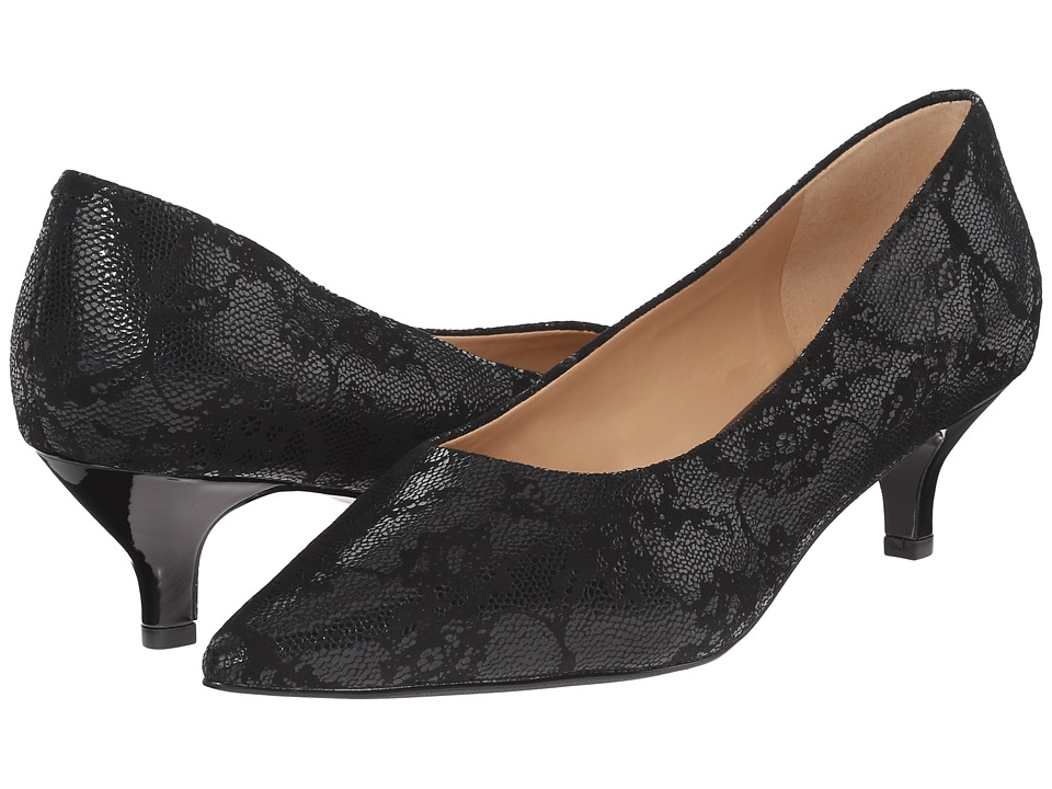 Trotters - Paulina (Black Lace Embossed Leather) Women's 1-2 inch heel Shoes